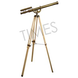 Brass & Wood Nautical Antique Telescope With Wooden Tripod, Model: TCIL-9760