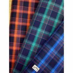 JC's Shirting Fabrics Twill Check Poly Cotton Fabric, For Dress, 200-250