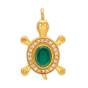 SSGJ Kachua Pendant With Emerald Ruby Sapphire Pearl Ad In Center Kachua Ad Pendant