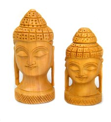 Wooden Buddha Head Indian Handmade Handicraft For Decorative