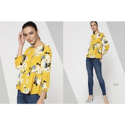 Casual Printed Ladies Yellow Top