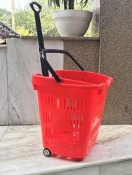 Red Plastic Rolling Basket With Wheel for Supermarket