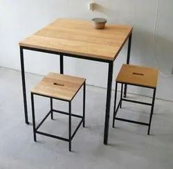 Modern Iron Wooden Table With Stools, for Hotel