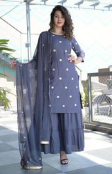 3/4 Sleeve Round Neck Rayon Embroidery Kurti With Sharara and Chiffon Dupatta