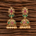 Antique Gold Plated Delicate Jhumkis 200382, Height = 43 Mm Width = 20 Mm
