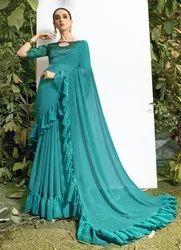 Designer Frills Border Chiffon Saree