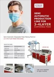 3-4 Ply Flat Mask Semi Automatic Machine For Disposable Mask
