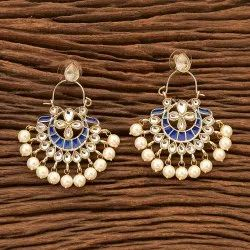 Women Gold Plated Indo Western Chand Earring 100113