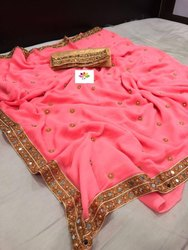 SBF Party Wear Ladies Fancy Saree, 5.5 m (separate blouse piece), With Blouse