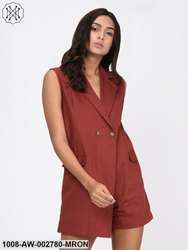 Maroon Twill Jacket Playsuit for Women