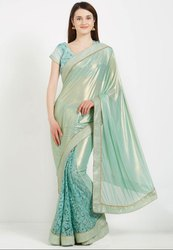 Pastel Green Stylish Designer Saree