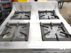 LPG Commercial Cooking Range Four Burner Gas Bhatti, For Hotel