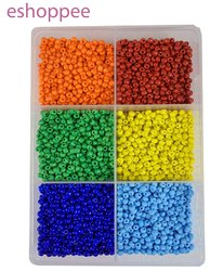 eshoppee 11/0 (2mm) six Color Shades Glass Seed Beads