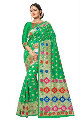 saree traditional saree silk saree indian saree Banarasi silk rich pallu zari weaving saree blouse for women