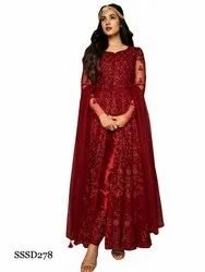 Traditional Fashion Designer Semi-stitched Red Color Net Fabric Anarkali Suit