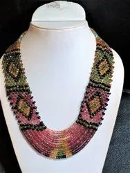 7 Strand Multi Tourmaline Faceted Rondelle Statement Stone Bead Necklace