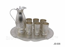Silver Engraved Jug Set With Tray