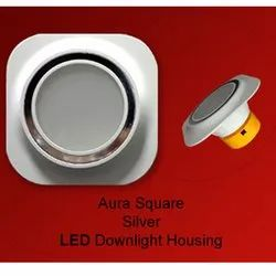 Aura Square Silver LED Downlight Housing