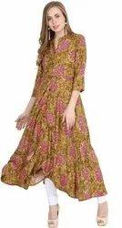 Cotton Rayon Blend Multicolor Ladies Multi color Printed Dress