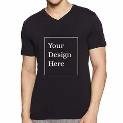 V-Neck Cheap Promotional T-Shirts Black Blank Tees Custom Design Logo Printed