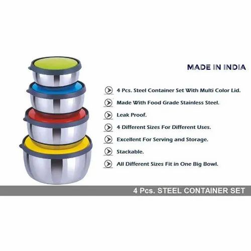 Household Utilities (4 Pcs Steel Container Set) - Wowo
