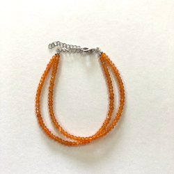 Natural Orange Carnelian Stone Faceted Beads Silver Bracelets