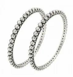 Silver Cut Stone Bangles