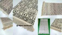 MEERA HANDICRAFTS Hand Weave Block Printed Handloom Cotton Dhurrie Rugs, Size: 3 By 5 Fet