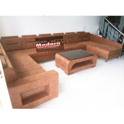 Modern Sofa & Curtains Leather Brown Living Room Sofa Set, Tight Back