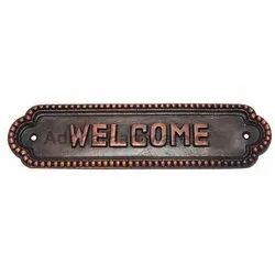 Medium Welcome Brass Sign