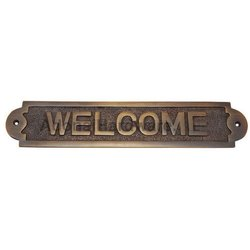 Large Welcome Brass Sign