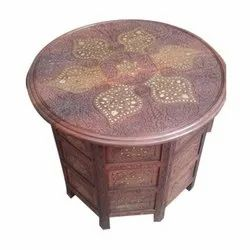 Wood Brass Carving Centre Table cofe