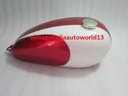 New Triumph T150 Trident Cherry And Cream Painted  Petrol Tank (Reproduction)  With Brass Petrol Cap