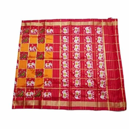 6.3m Party Wear Ladies Ikkat Silk Saree, With Blouse Piece