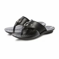 Mens Black Casual PU Slippers
