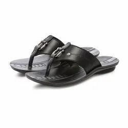 Mens Black Casual PU Slippers
