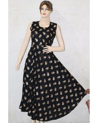 Gold Print Black Frock