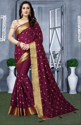 Wine Heavy Resham Embroidered Saree