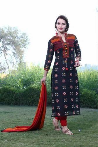 Embroidered 3/4th Sleeves Ladies Black Printed Unstitched Punjabi Suit