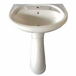 Wall Mounted Ceramic White Pedestal Wash Basin