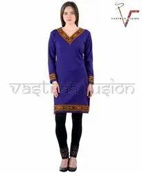 Ladies Regular Wear  Woolen Kurti - Royal Blue