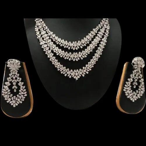 Akanksha Jewels Heavy Bridal Diamond Necklace With Earring Rs