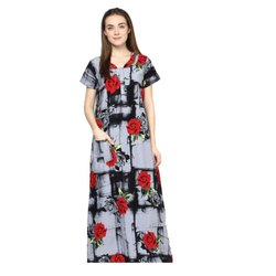 Cotton Half Sleeves Ladies Full Length Nightgown