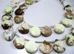 Natural Lemon Chrysocolla Heart Shape Faceted Beads 17-18mm Beads