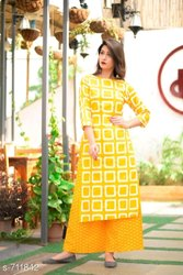 Cotton Anarkali Ladies Kurtis And Palazzo, Machine wash