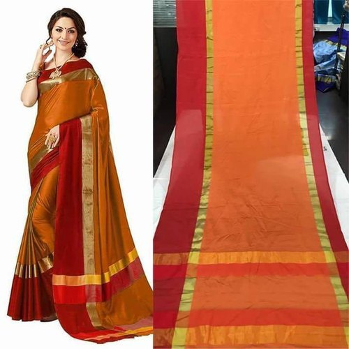 Party Wear Handloom Cotton Silk Saree, Machine Made, 5.5 M (separate Blouse Piece)