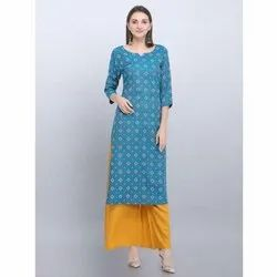 Casual Wear Blue Rayon Kurti
