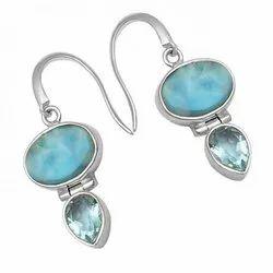 Manufacturer  women's gemstone jewelry 925 sterling silver  blue larimar earring
