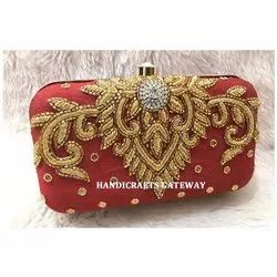 Zari Hand Embroidery Clutch Box