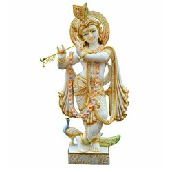 25 Inch Painted Marble Krishna Statue